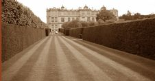 Long Garden Of The Manor House At Longleat In Sepia Stock Images