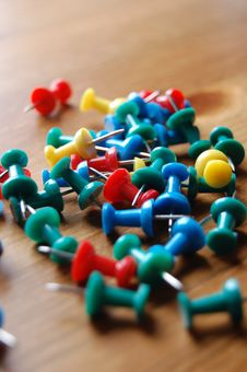 Free Various Coloured Drawing Pins On Wooden Surface Closer Stock Photo - 787550