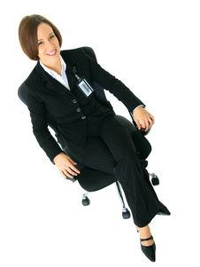 Free Caucasian Female Businesswoman Sit On Chair Stock Photography - 7800112