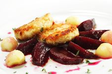 Chicken Confit With Pickled Beet Stock Photo