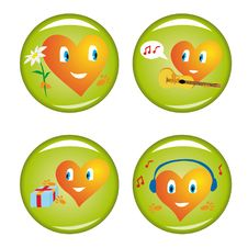Free Set Of Four St. Valentine Buttons Stock Photography - 7800942