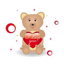 Free Cute Bear For St.Valentine Day Stock Photos - 7800953