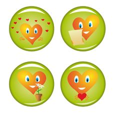 Set Of Four St. Valentine Buttons Royalty Free Stock Photo