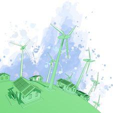 Free Wind Generators & Houses Stock Image - 7801031