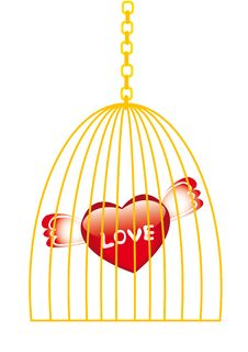 Love In Golden Cage Stock Photography