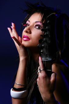 Free Emo Girl And Electro Guitar Stock Image - 7801241