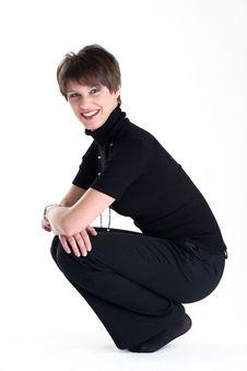 Smiling Women In Black Costume Stock Image