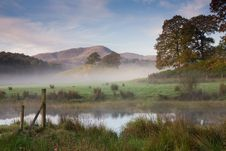 Misty Morning On The River Brathay Stock Photo