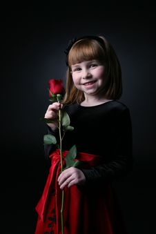 Free Pretty Young Girl With Long Stemmed Red Rose Stock Photo - 7802790
