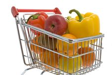 Free Shopping Trolley With Fruits And Vegetables Stock Photography - 7803152
