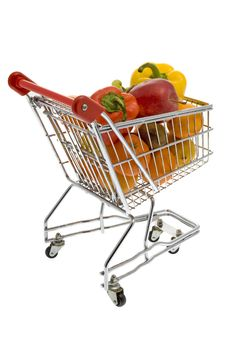 Free Shopping Trolley With Fruits And Vegetables Royalty Free Stock Photos - 7803218