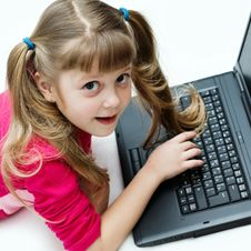Free Girl With Laptop Stock Photo - 7803610