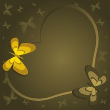 Free Green Heart Wit Butterflies Stock Photography - 7803662