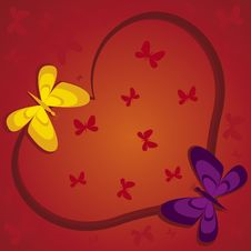 Free Red Heart With Butterflies Royalty Free Stock Photography - 7803677