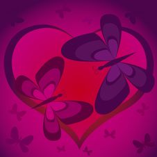 Free Violet Heart With Butterflies Stock Photo - 7803740