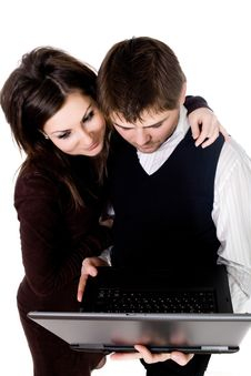 Free Couple With Laptop Stock Images - 7804154