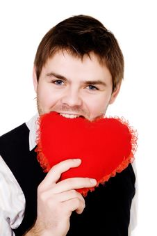 Free Man With Red Heart Stock Photography - 7804272