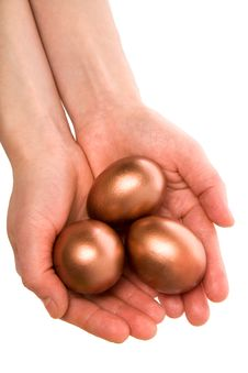 Free Three Gold Eggs In Palm(paths) Royalty Free Stock Photos - 7804378