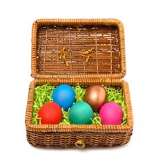 Free Easter Casket With Coloured Eggs Royalty Free Stock Photos - 7804418