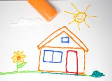 Drawing Of The House With A Flower And Sun Stock Photo