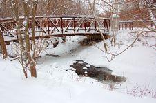 Frozen Creek In Winter Stock Image