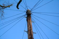 Telephone Pole And Lines Royalty Free Stock Image