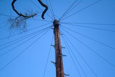 Telephone Pole And Lines Royalty Free Stock Images