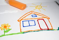 Drawing Of The House With A Flower And Sun Stock Photos