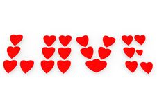 Word Love From Red Hearts. Stock Photo
