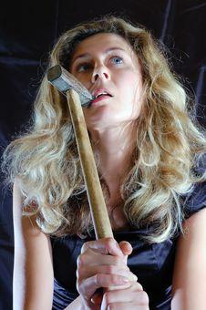 Free Girl Biting A Hammer Royalty Free Stock Photos - 7807098