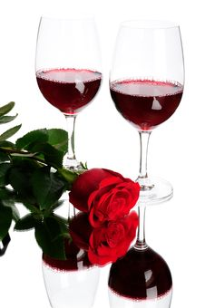 Free Red Wine And Rose Stock Photos - 7807333