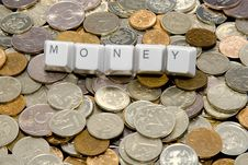 MONEY Word Over Different Metal Coins Royalty Free Stock Image