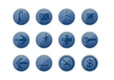 Free 12 Blue Glossy Web Icon Stock Photography - 7809322