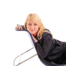 Portrait Of Attractive Businesswoman On Chair Royalty Free Stock Images