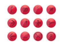 Free 12 Red Glossy Web Icon Royalty Free Stock Photo - 7809345