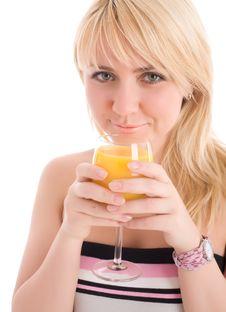 Free Attractive Girl Drinking Fresh Orange Juice Stock Images - 7809394