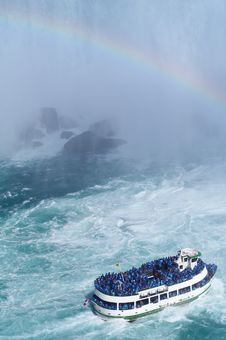Ship Near Niagara Fall Royalty Free Stock Image