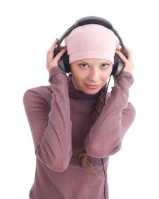 Free Happy Young Woman In Headphones Stock Photo - 7809490