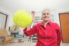 Pet S Prospective. Grandmother Paly Wits A Tennis Ball. Royalty Free Stock Photography