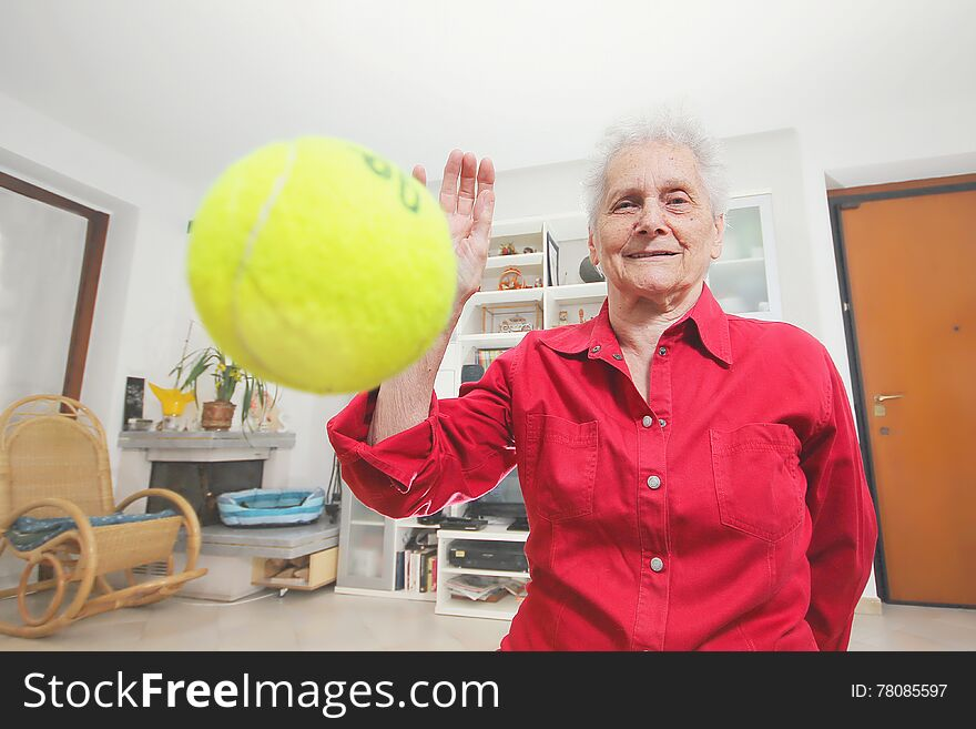 Pet s prospective. Grandmother paly wits a tennis ball.