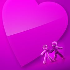 Free Happy Valentine S Day Illustrated Heart And Couple Royalty Free Stock Image - 7811636