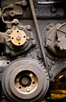 Old Diesel Engine Close-up Royalty Free Stock Photo