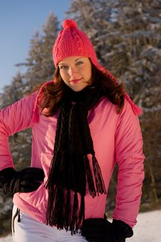 Free Young Woman In Pink In Winter Stock Photo - 7812800