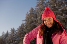 Free Portrait Of Woman Wearing Pink In Winter Royalty Free Stock Image - 7812806
