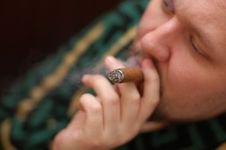 Free Man In Dressing Gown Smokes Cigar Stock Image - 7812891