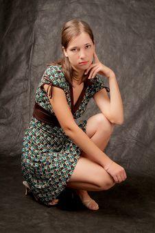 Free Young Girl White Skin Sitting On Black Royalty Free Stock Photo - 7813045