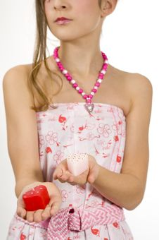 Free Girl With Valentine Candles In Hands Royalty Free Stock Photography - 7813857