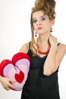 Girl Holding A Valentine S Day Pillow Royalty Free Stock Photography