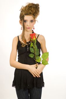 Free Girl Holding A Red Rose Stock Image - 7814101
