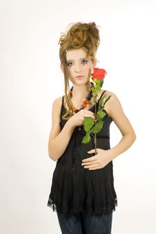 Free Girl Holding A Red Rose Stock Photography - 7814102